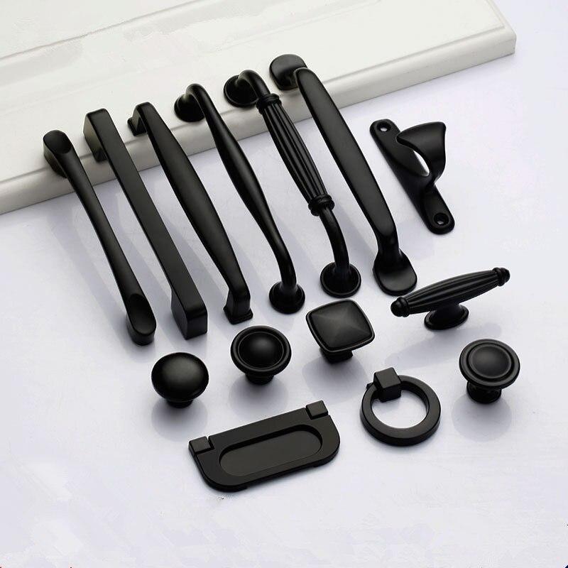 Черные ручки для мебели, ручки для шкафа и кухонные ручки, ручки для ящика, ручки для шкафа, ручки для шкафа, ручки из алюминиевого сплава