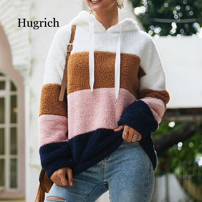 Women's Fleece Patchwork Hooded Sweatshirt Rainbow Striped Casual Warm Pullover Hoody 2020 Winter Autumn Thicken Hoodies Female female costume emberens 4217 striped handsome casual with belt autumn winter российское production delivery from russia