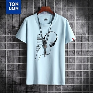 High Quality T Shirts Long-line Earphone Print Tops Round Neck Yellow 100% Cotton Tshirts Comfortable Large Size T-shirt