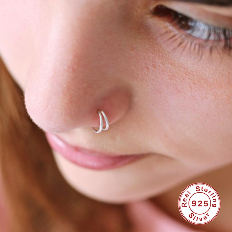 Фото - Aide 925 Sterling Silver Double Circle Nose Rings For Women Girls Small Open Hoop Ring Type Piercing Cartilage Stud Body Jewelry body jewelry open nose ring fake clip sexy on 6 8 10mm 1pc sale small hoop simple surgical steel piercing stud thin free ship