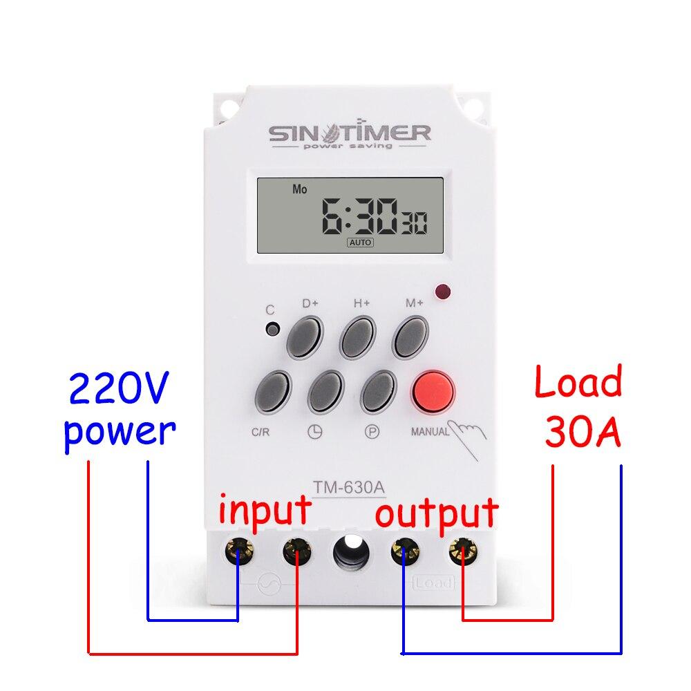 30AMP-مؤقت 24 ساعة قابل للبرمجة ، مفتاح صغير 220 فولت ، 7 أيام ، شحن مجاني