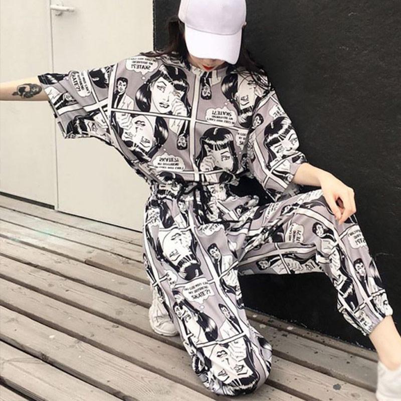 Cartoon Printed Harajuku Women 2Pcs Set Tracksuits Short Sleeves T-Shirt Tops Long Joggers 2020 Summer Korean Lady Suit Hip hop