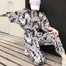 Dessin animé Imprimé Harajuku Femmes 2 Pièces Ensemble Survêtements Manches Courtes T-Shirts Hauts Longue Joggeurs 2020 été Coréen Dame Costume Hip hop