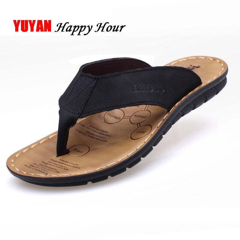 Zapatos de verano 2020, Zapatillas para hombre, zapatillas de playa de cuero genuino, sandalias para hombre, zapatos de verano para hombre, chanclas para hombre KA673