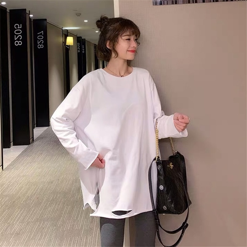2021 Spring and Autumn Women's Clothing New White Long Sleeve T-shirt Female Korean-style Loose Ins-