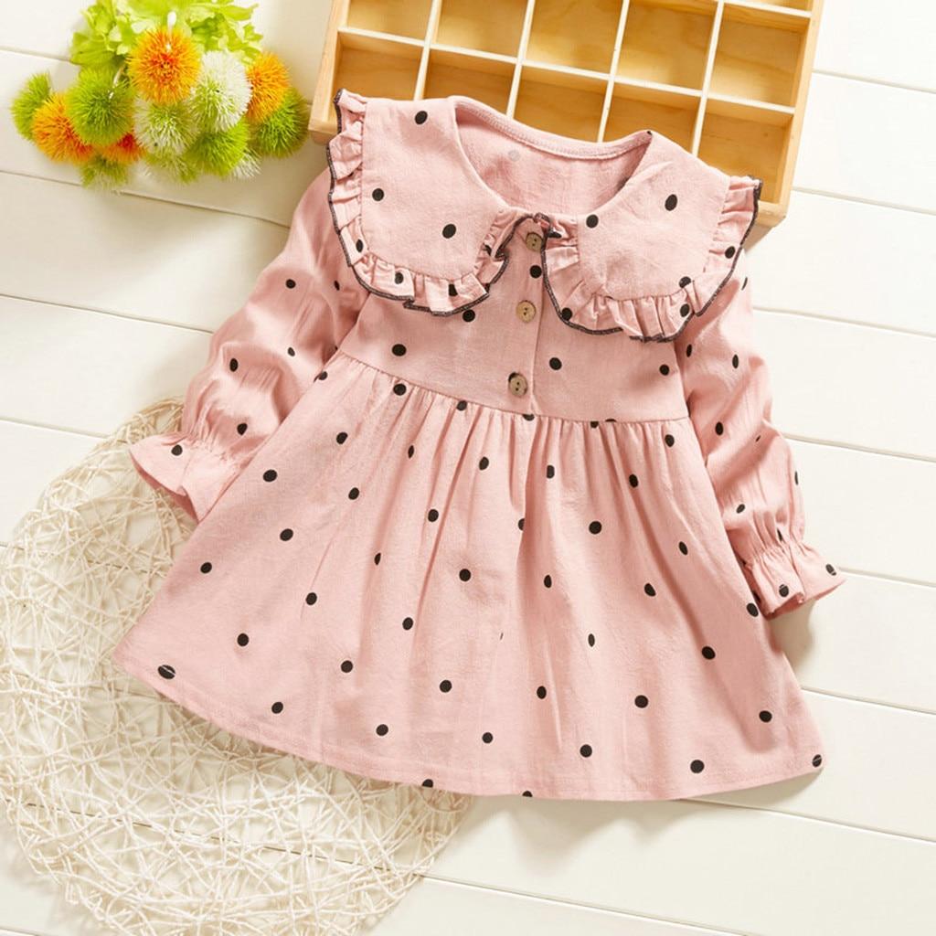Vestidos infantiles para niñas de Primavera de manga larga cuello Peter Pan Polca Vestido princesa de lunares ropa para niños pequeños niñas Vestido Infantil