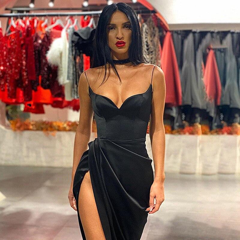 DIRTYLILY sólido Sexy espalda descubierta Strapped Strap Midi vestidos 2020 verano Casual Vestido largo de moda de fiesta sin mangas ceñido al cuerpo vestido