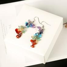 Boucles doreilles bijoux naturels colorés 1 pièce   Pendentif cuarzo, cristaux de guérison, méditation, fête, cadeau de bricolage