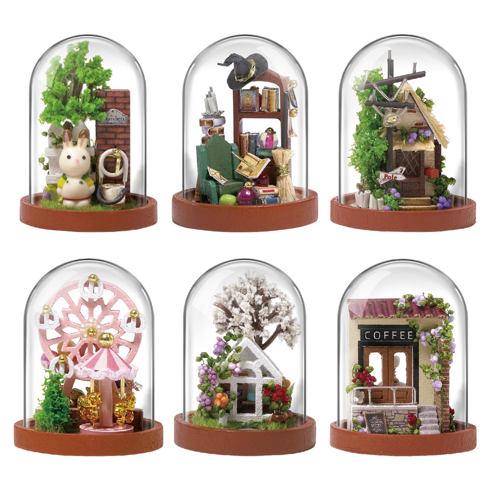 Миниатюрный набор и игрушки для кукольного домика «сделай сам», деревянная мебель для кукольного домика С Пылезащитным чехлом,