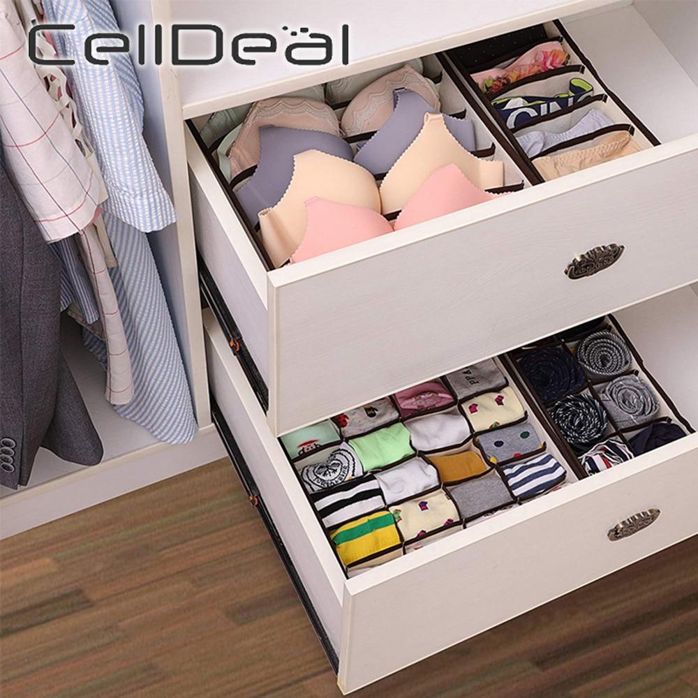 Több méretű összecsukható tároló doboz fehérnemű szekrény fiók elválasztó fedeles szekrény szervező tároló doboz nyakkendő zokni melltartó hálószoba