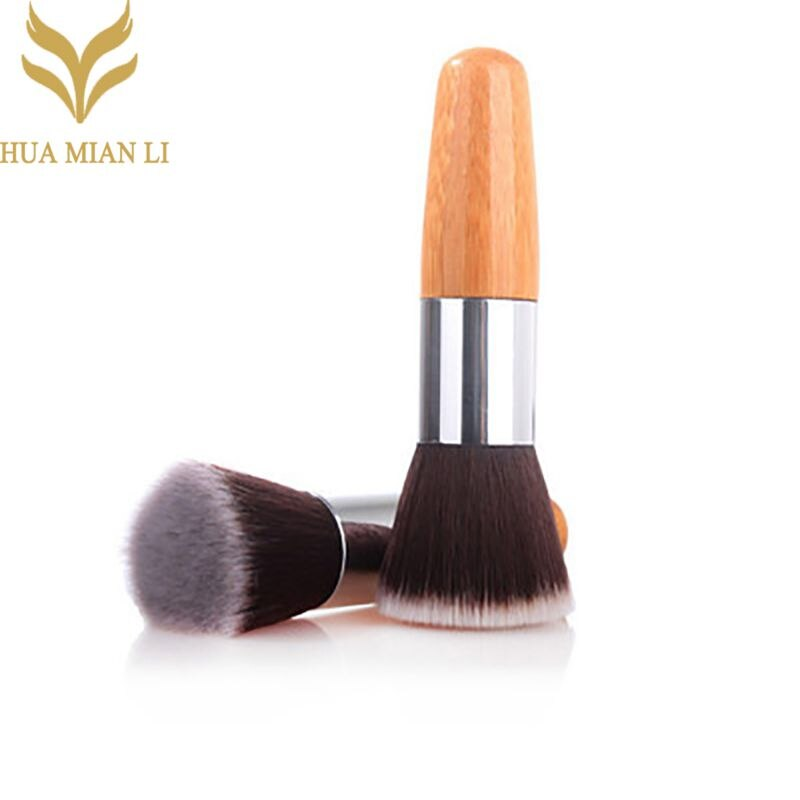 HUAMIANLI 1pcs Fashion Bamboo Flat Top Makeup Brushes Make Up Cosmetics Set Kit Tools Blush Brush Fo