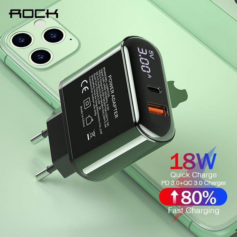 Rock Quick Charge USB зарядное устройство QC 3,0 PD Быстрая зарядка светодиодный дисплей зарядное устройство для телефона для iPhone samsung huawei Xiaomi type C адаптер