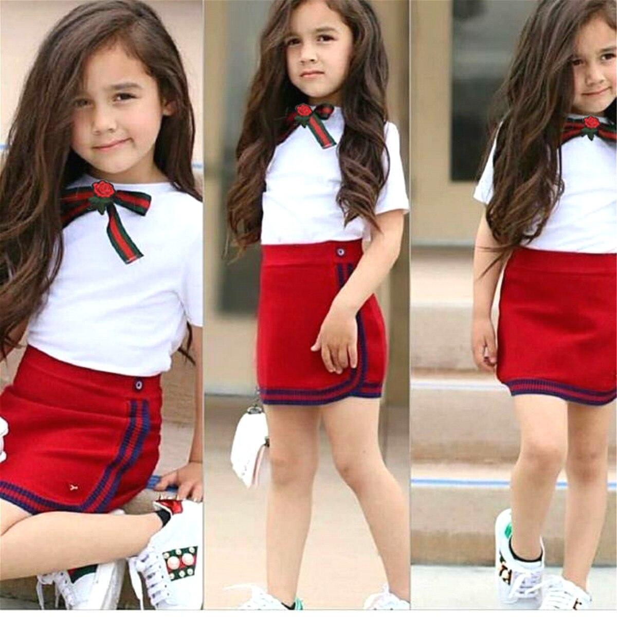 Uniform Stil Zwei Stück Kleinkind Mädchen Kleidung Set Newborn Kid Baby Mädchen Bogen Blume Krawatte Tops T-shirt Short Mini Rock tutu Kleid