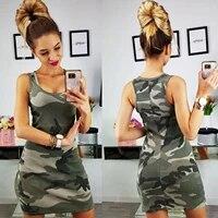 womens camo casual sports sleeveless dress holiday bodycon vest mini dresses