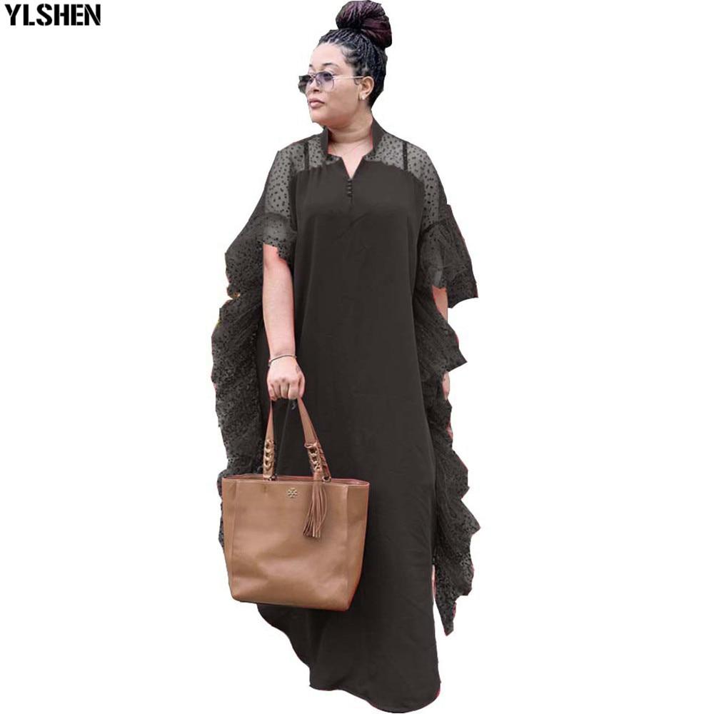 Летние африканские платья для женщин, Африканское платье макси, Дашики, стиль ретро, сетка, пэчворк, рукав летучая мышь, халат, африканская о...