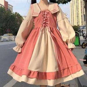2021 Vintage Japanese Sailor Collar Detachable Lolita Dress OP Ruffle Bow Tie Button Lace Up Knee Length Long Sleeve Sweet Dress
