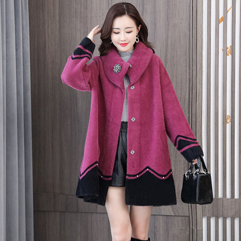 معطف WYWAN لشتاء 2020 للسيدات من فرو المنك, معطف للشتاء والخريف والشتاء من صوف المنك الذهبي المقلد