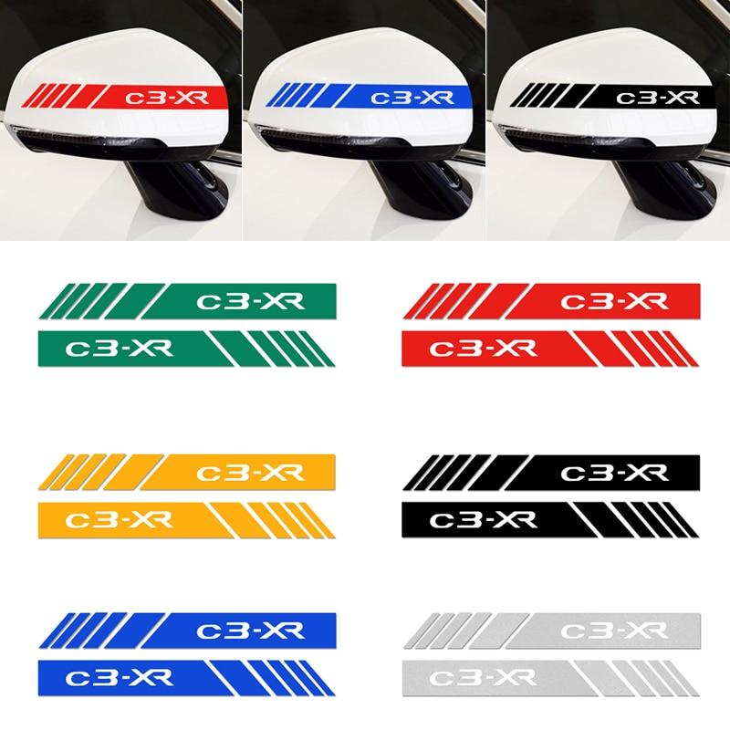 2 pçs espelho retrovisor do carro adesivos listra carro reflexivo decalque decorativo para citroen C3-XR c3xr adesivos de carro estilo acessórios