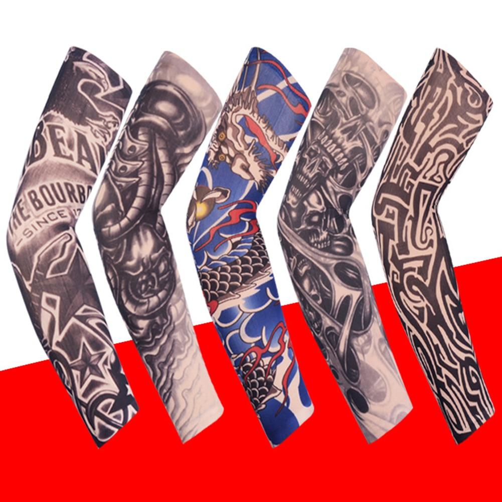 1 piezas Unisex verano falso tatuaje mangas de brazo para hombres Unisex mujeres protector solar brazo camiseta protección UV Hip Hop tatuaje estilo Punk