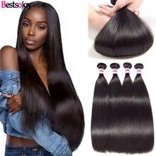 Bestsojoy 4 Bundels Braziliaanse Steil Haar Bundels Remy Human Hair Weave Bundels Natural Black
