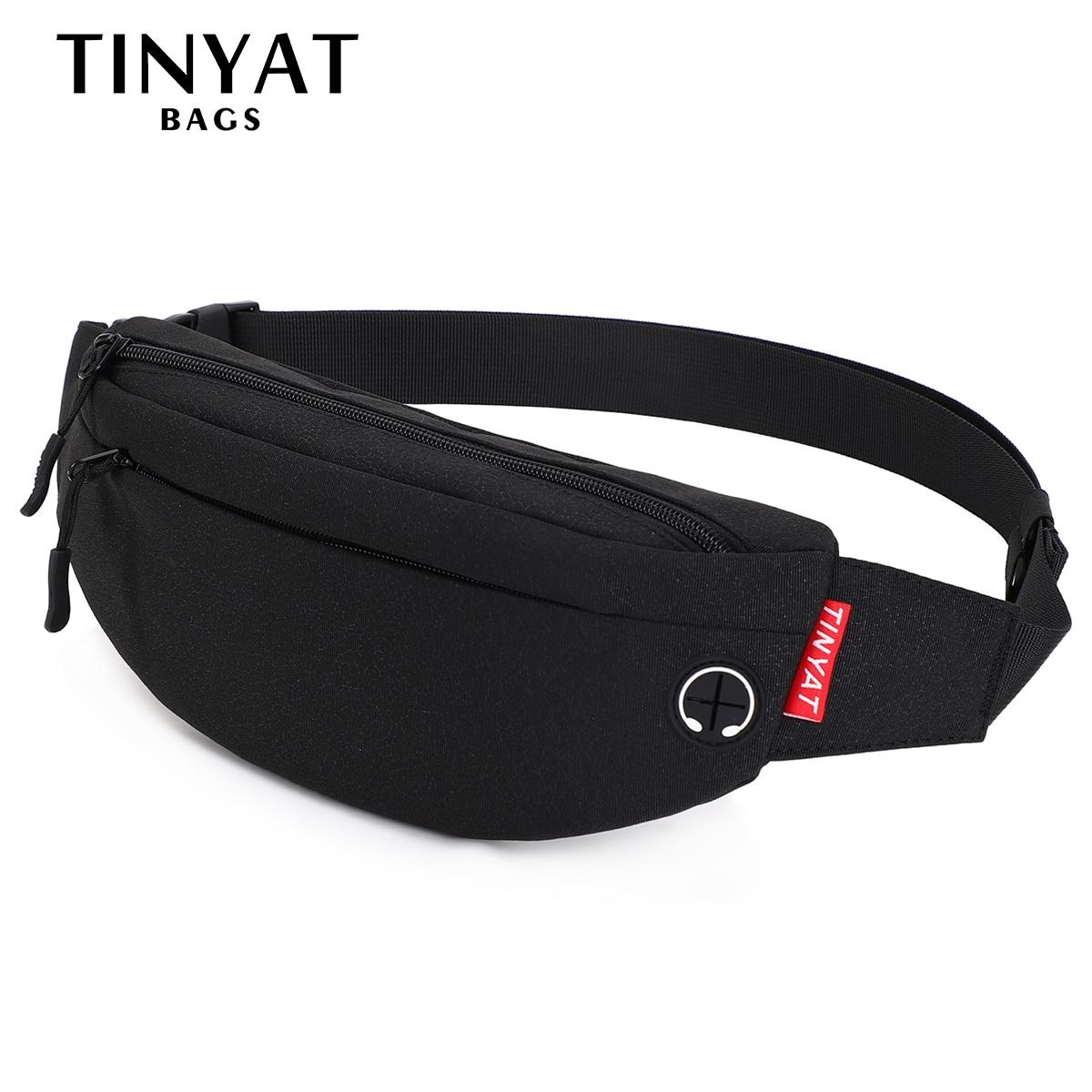TINYAT Men Waist Bag Pack Purse Casual Large Phone Belt Bag Pouch Women's Canvas Travel Phone Bag Fanny Banana Bag Hip 4 Pockets
