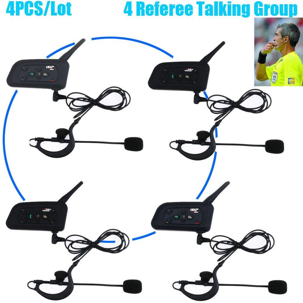 4 pçs profissional futebol árbitros bluetooth sistema de intercomunicação futebol arbitrro fone de ouvido interfone fm