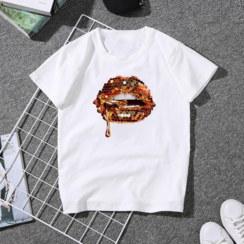 Luslos spoof mulher tshirts verão manga curta impressão lábio feminino t-shirts harajuku streetwear moda novas meninas topos t roupas
