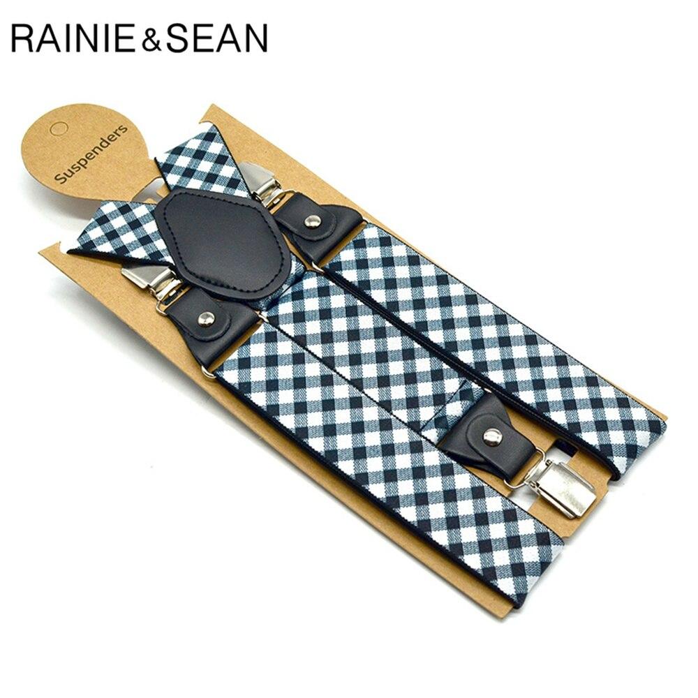 Подтяжки RAINIE SEAN Men s в клетку, деловые эластичные ремни для брюк, 3,5*120 см, мужские аксессуары