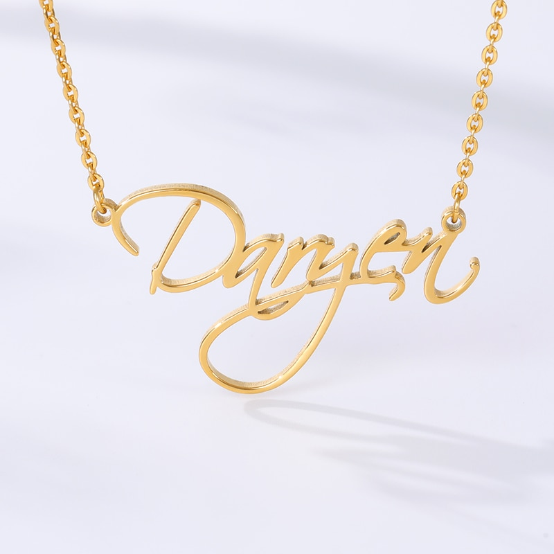 Custom Name Necklace For Women Gold Stainless Steel Personalized Nameplate BFF customized Jewelry gift collier femme