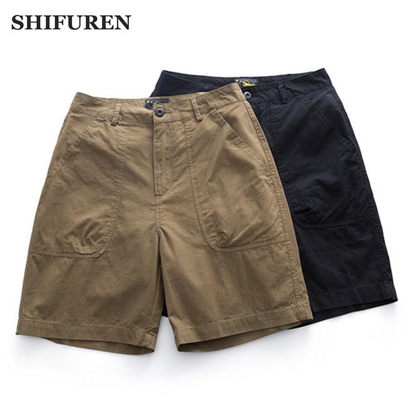 SHIFUREN Male Shorts Multi Pocket Summer Zipper Breeches Trekking Trousers Work Pants Overalls Casual Cotton Cargo Shorts