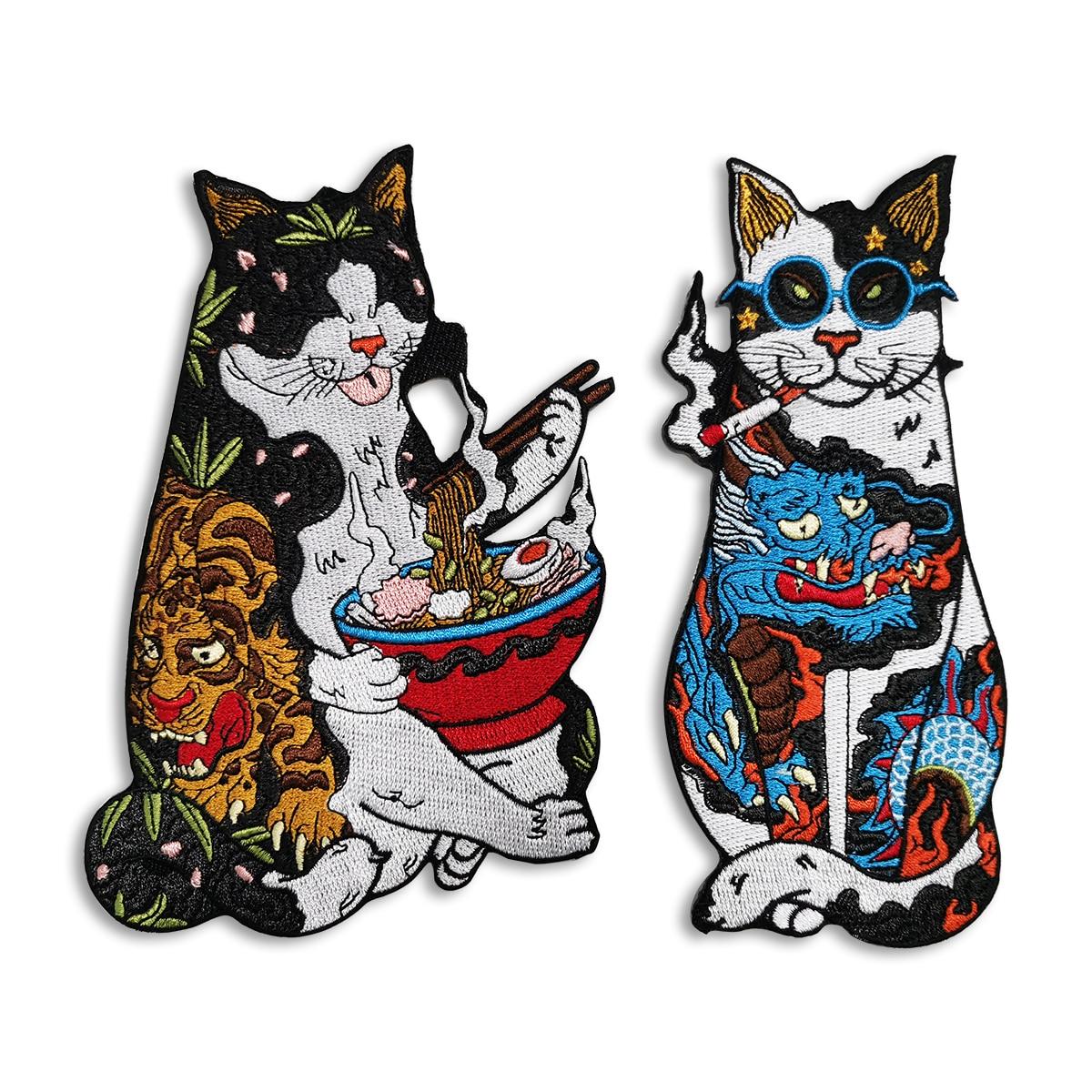 Gato legal japonês udon bordado remendos de costura ferro em remendos para jaquetas sacos de alta qualidade dos desenhos animados cultura logotipo fantasma emblemas