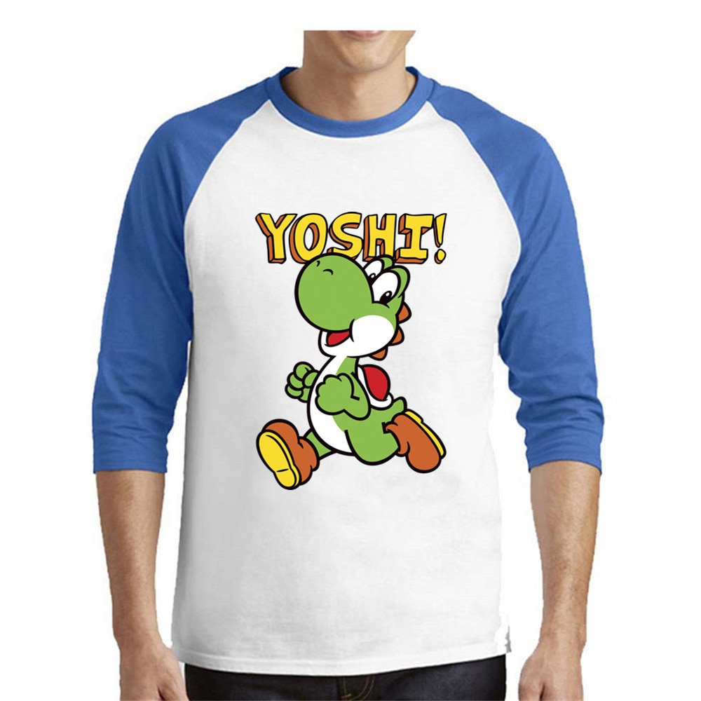 Camiseta de fútbol para hombre, camiseta blanca con estampado de algodón de Hip Hop 100%, de tres cuartos de Yoshi Camiseta de manga, camiseta de dragon ball