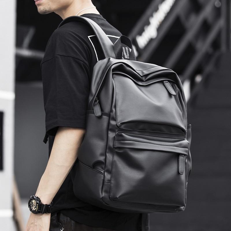حقيبة ظهر جلدية سوداء للرجال ، حقيبة مدرسية للمراهقين ، الأولاد ، حقيبة كتب للكمبيوتر المحمول ، حقائب سفر