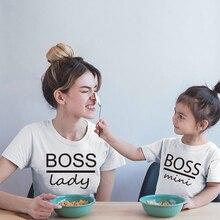 T-shirt The boss lady et boss   mini, imprimé, pour famille, en coton, assorti, maman, enfants, petites filles, garçons, mignons et doux, avec impression de cœur, hauts