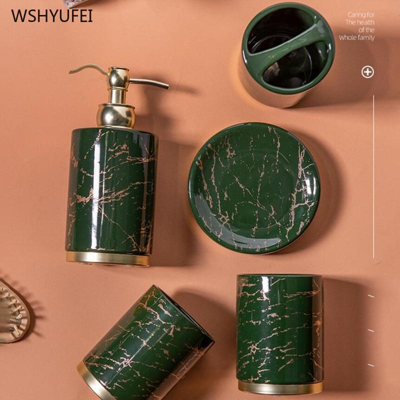 Light luxury Bathroom accessories set ceramic Five-piece set Couple mouthwash cup Toothbrush holder Lotion bottle wash Suit enlarge
