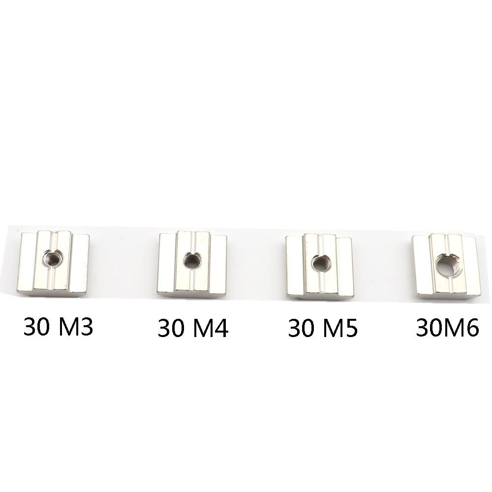 10pcs M3 M4 M5 M6 Nickel Plated T nut Flat Head Fasten Nut for Aluminum Extrusion Profile 2020/3030 series