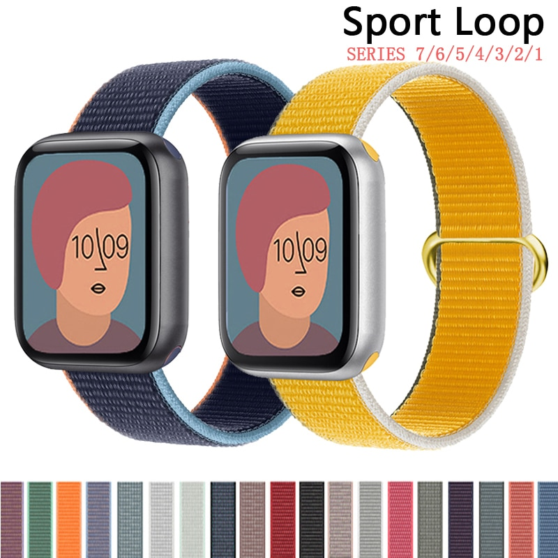 sport nylon fabric watch band for apple watch 38mm 42mm strap soft watch loop for iwatch 5 4 3 2 1 watchband for iwatch bracelet Nylon Loop Strap for apple watch band 44mm 40mm 38mm 42mm iWatch bracelet Watchband for apple watch 7 6 5 4 3 se band 41mm 45mm
