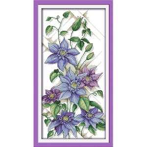 Everlasting Love Purple Blossoms (2) Chinese Cross Stitch Kit Ecological Cotton Stamped Printed 11 14CT DIY Christmas Decoration