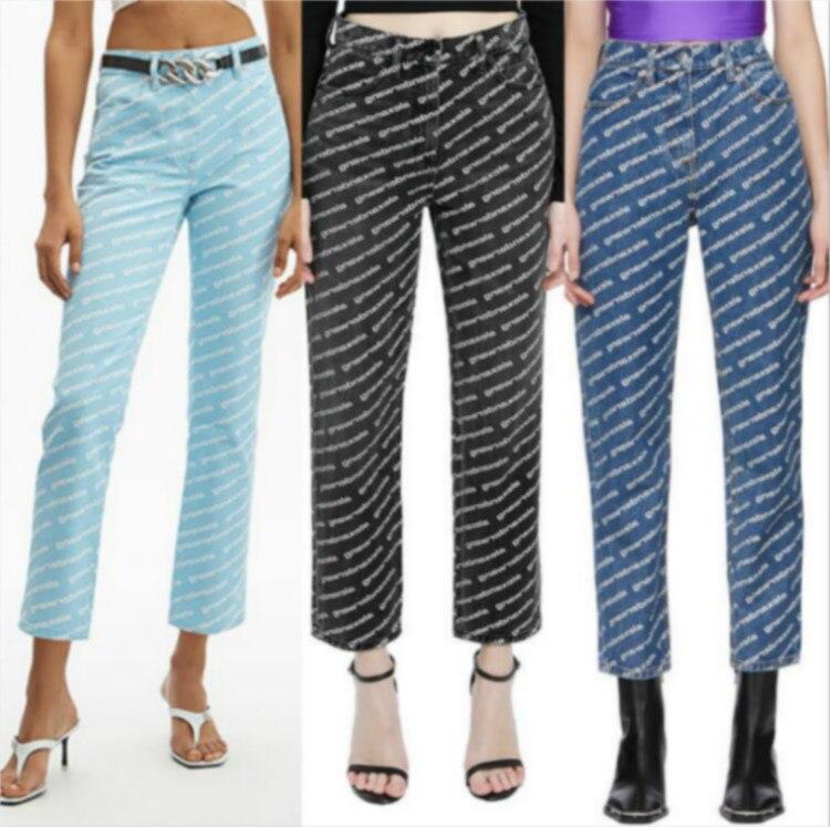 AAW047 2020 Primavera das Mulheres Carta Impressão Allover Logotipo Cinza Escuro Reta Calça Jeans Cropped Pant A2