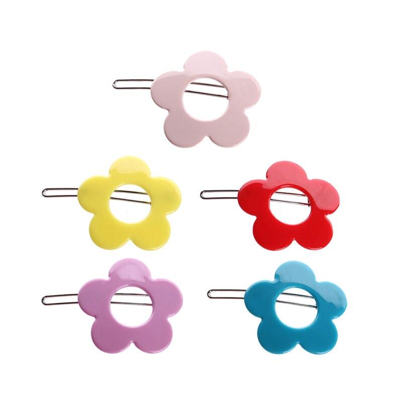 ¡Venta al por mayor! ¡Precio a granel! clips para cabellos de niños color acrílico caramelo hueco Horquillas de flor horquilla para niñas
