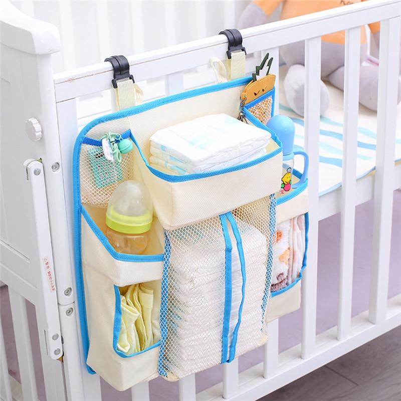 Portable Baby Bed Bumper Hanging Storage Bag Nappy Bag Bedside Organizer Infant Crib Bedding Set Waterproof Toy Diapers Pocket