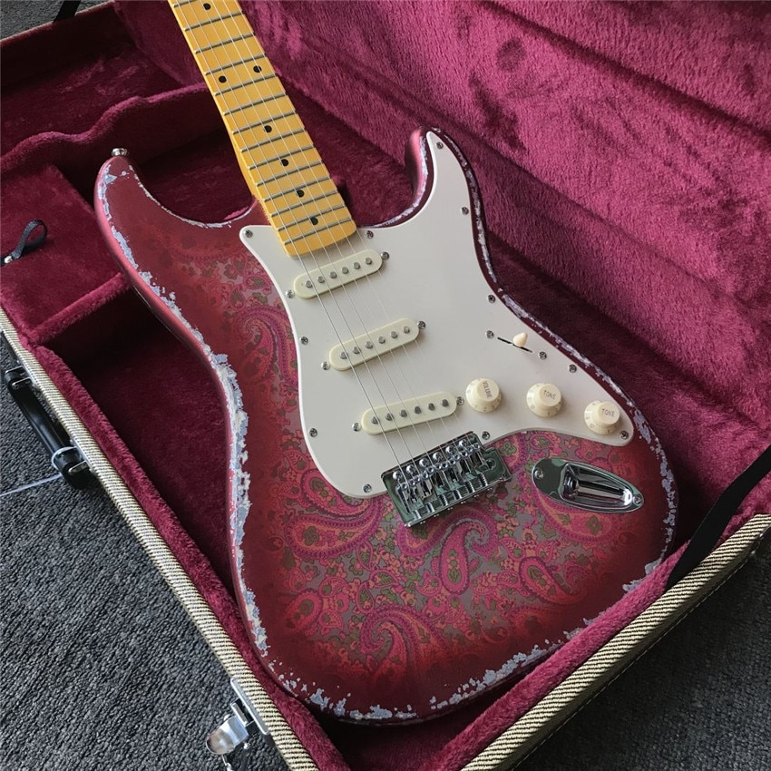 Stock, coral made old electric guitar, metal color, real photos, free shipping, modifiable and customized enlarge