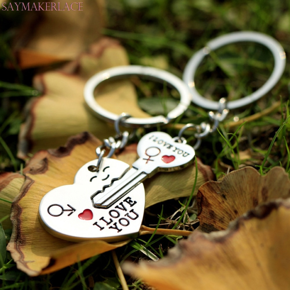 1 Pair Couple I LOVE YOU Letter Keychain Heart Car Key Ring Silvery Lovers Love Auto Key Chain Souvenirs  novelty design