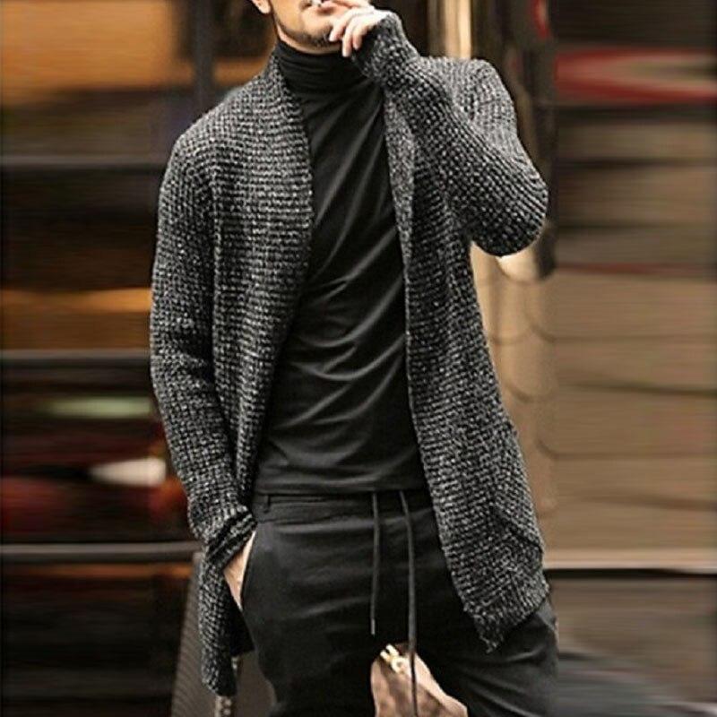 Мужской свитер, Кардиган с длинным рукавом, кардиган в английском стиле, модная одежда, плотный теплый свитер, Мужской Повседневный свитер, ...