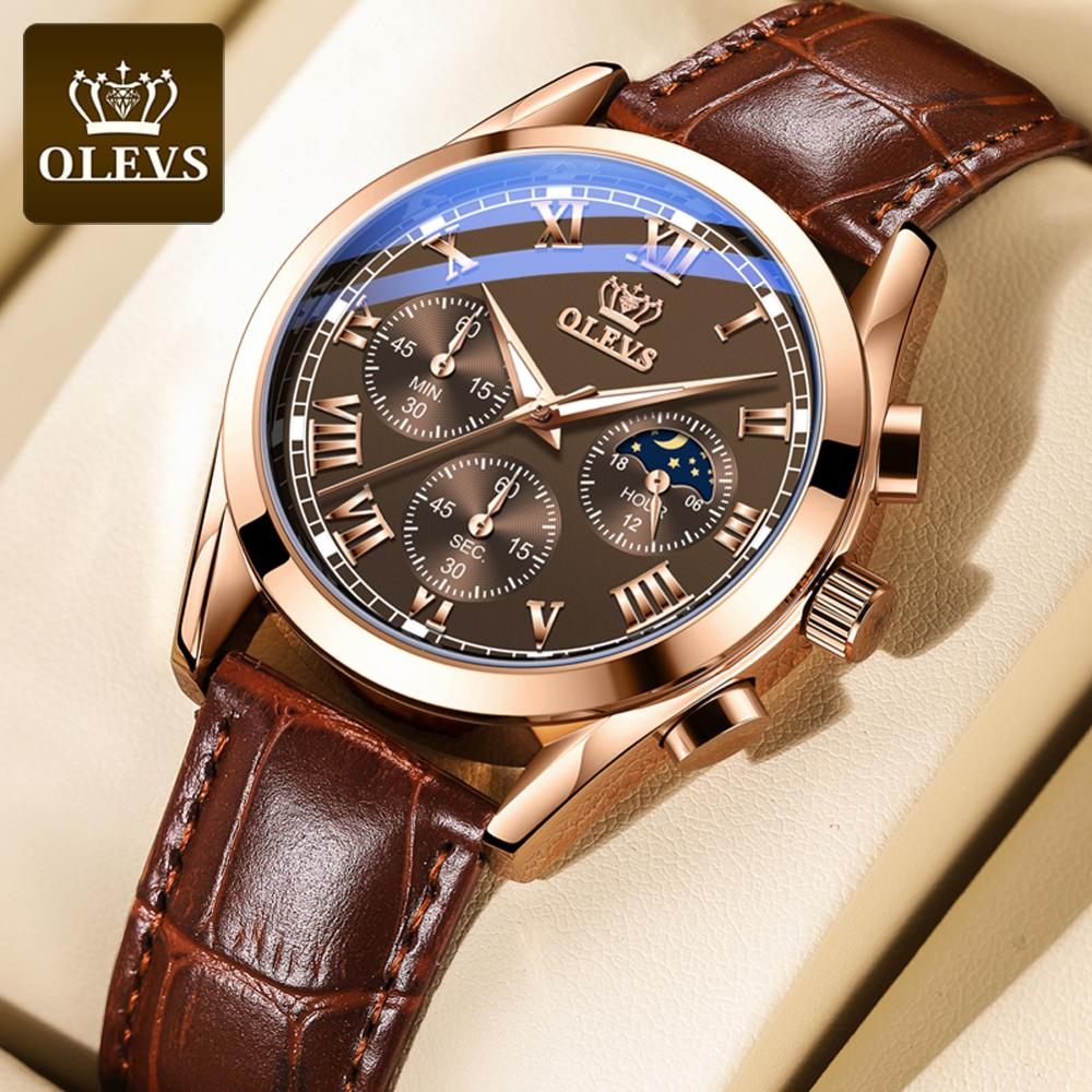 2020 New OLEVS Mens Watches Fashion Business Waterproof Quartz Wrist Watch Men Top Brand Luxury Leather Strap Sport Clock Male yelang v1021 aviator serier t100 tritium tubes flourescent numbers 100m waterproof leather strap mens quartz wrist watch