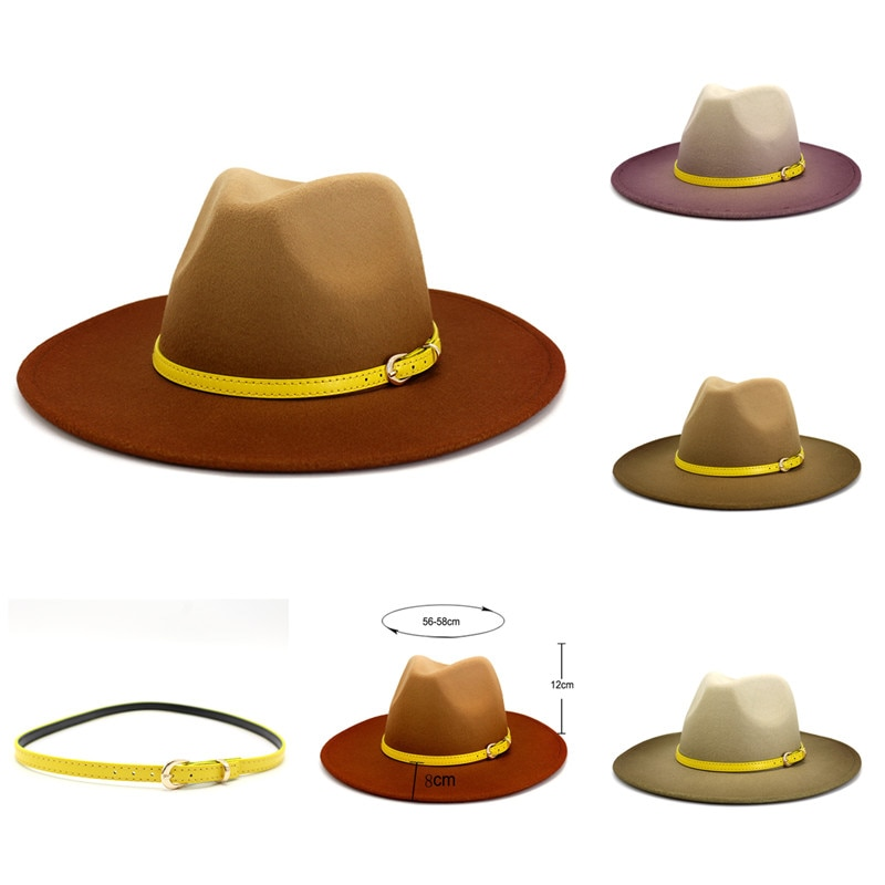 New Women Gradient Jazz Hat Spring Men Fedoras Yellow Leather Belt Wool Bowler Panama Wholesale Fash