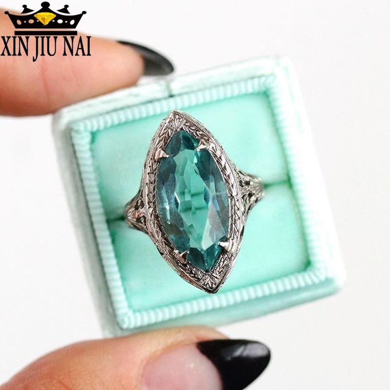 Старинный зеленый камень маркиза большие кольца для женщин 925 Серебряный конский глаз циркон камень для родившихся в мае Кольцо женское свадебное CZ Изумрудное кольцо