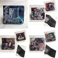 anime attack on titan short wallet with coin pocket zipper pouch pu leather purse multi functional key credit card bag wholesale