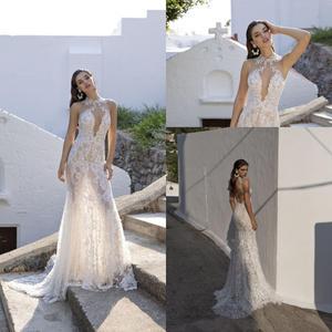 Gorgeous Mermaid Wedding Dresses High Neck Sweep Train Lace Appliqued Beach Wedding Dress Custom Made Backless Robes De Mariée