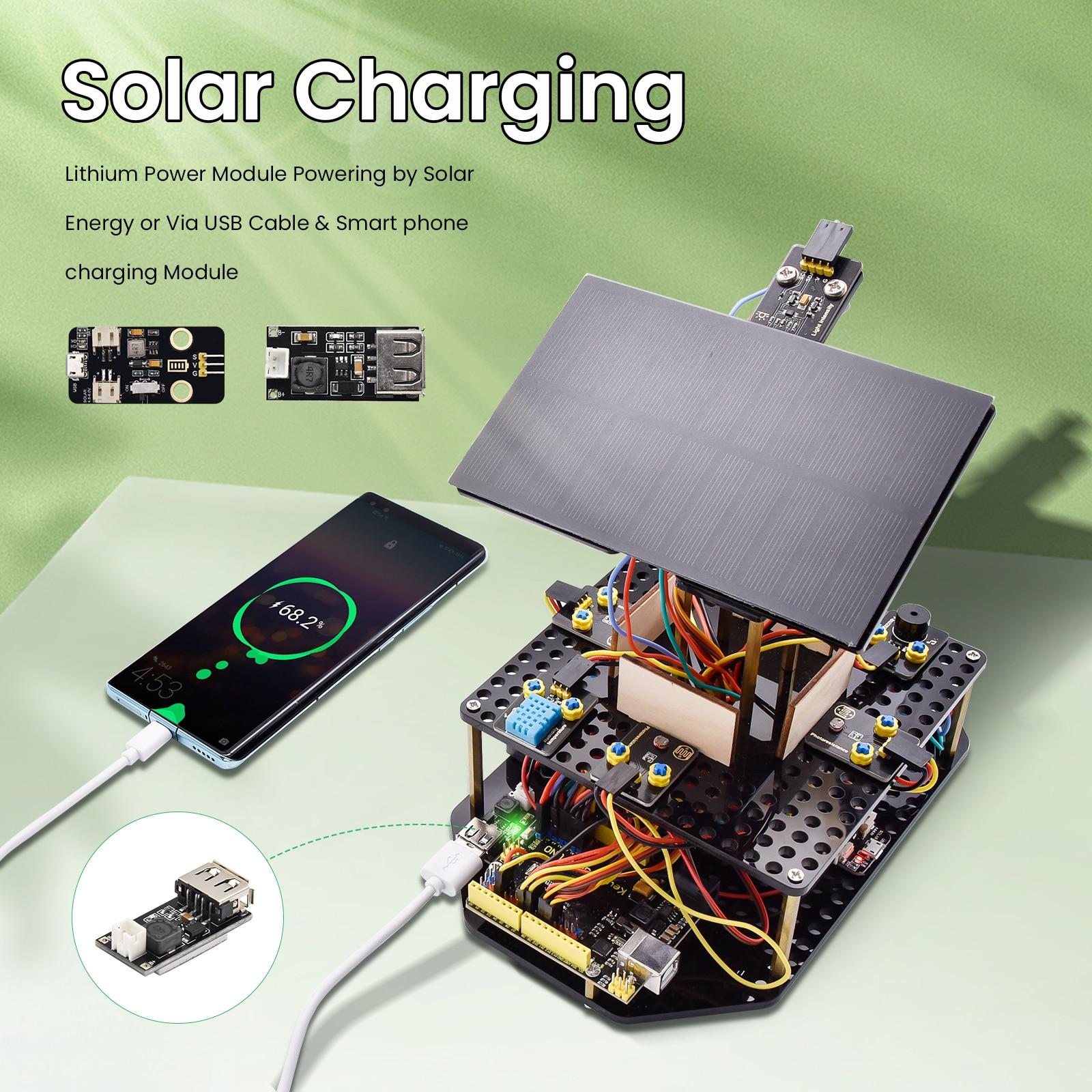 Keyestudio الاكريليك الذكية متعقب الشمس نظام تتبع كاتب عدة ل اردوينو الجذعية برمجة اللعب لتقوم بها بنفسك شحن الهاتف المحمول